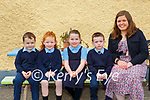Karen Parker and her Junior Infant class in Glenflesk NS on Wednesday l-r: Paddy MacGillicuddy, Rachel O'Donoghue, Abby O'Sullivan  and Dylan O'Connor