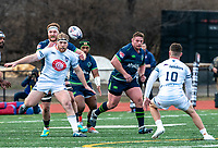 WASHINGTON, DC - FEBRUARY 16: Max Lum #16 of Old Glory DC and Brad Tucker #4 of the Seattle Seawolves chase after a loose ball during a game between Seattle Seawolves and Old Glory DC at Cardinal Stadium on February 16, 2020 in Washington, DC.