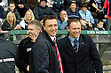 25/03/2006         Copyright Pic: James Stewart.File Name : sct_jspa02_falkirk_v_hearts.HEARTS CARETAKER MANAGER WITH JOHN HUGHES AT THE START OF THE GAME....Payments to :.James Stewart Photo Agency 19 Carronlea Drive, Falkirk. FK2 8DN      Vat Reg No. 607 6932 25.Office     : +44 (0)1324 570906     .Mobile   : +44 (0)7721 416997.Fax         : +44 (0)1324 570906.E-mail  :  jim@jspa.co.uk.If you require further information then contact Jim Stewart on any of the numbers above.........