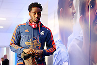 Leroy Fer of Swansea City arrives before the Barclays Premier League match between Leicester City and Swansea City played at The King Power Stadium, Leicester on April 24th 2016