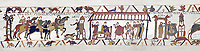 Bayeux Tapestry  Scene 14 and 15 - Harold arrives at the gates of Duke Williams castle then Harold and Duke Williams hold negotiations.