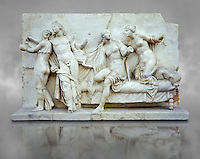 Roman marble relief sculpture known as  Alcibiades and Etere, Franeses Collection, Roman copy of an earlier Greek Helenistic original , inv no 6688, Secret Museum or Secret Cabinet, Naples National Archaeological Museum , grey art background