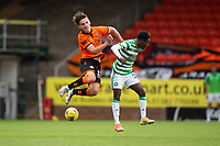 22nd August 2020; Tannadice Park, Dundee, Scotland; Scottish Premiership Football, Dundee United versus Celtic; Logan Chalmers of Dundee United is held off the ball as he challenges with Jeremie Frimpong of Celtic