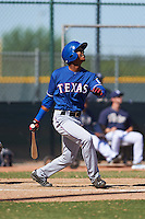 Texas Rangers Pedro Ogando (52) during an instructional league game against the San Diego Padres on October 9, 2015 at the Surprise Stadium Training Complex in Surprise, Arizona.  (Mike Janes/Four Seam Images)