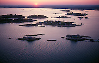 Thimble Islands, Branford, CT aerial sunset view looking towards the shoreline.  Near New Haven.