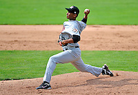 3 July 2011: Tri-City ValleyCats pitcher Ebert Rosario on the mound against the Vermont Lake Monsters at Centennial Field in Burlington, Vermont. The Lake Monsters rallied from a 6-3 deficit, scoring 4 runs in the bottom of the 9th, to defeat the ValletCats 7-6 in NY Penn League action. Mandatory Credit: Ed Wolfstein Photo
