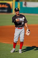 Chattanooga Lookouts second baseman Leonardo Rivas (3) warms up prior to the game against the Tennessee Smokies at Smokies Stadium on June 18, 2021, in Kodak, Tennessee. (Danny Parker/Four Seam Images)