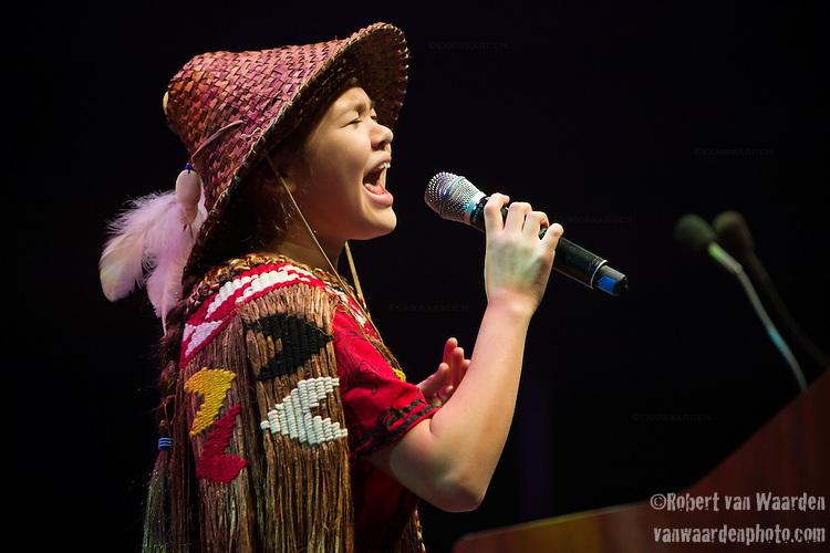 Ta'Kaiya Sierra Elizabeth Blaney from the Sliammon First Nation speaks at the Powershift 2013 plenary in Pittsburgh, PA. (Photo by: Robert van Waarden)
