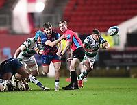 1st January 2021; Ashton Gate Stadium, Bristol, England; Premiership Rugby Union, Bristol Bears versus Newcastle Falcons; Harry Randall of Bristol Bears passes to Callum Sheedy of Bristol Bears