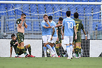 Joaquin Correa of Lazio celebrates with Ciro Immobile after scoring a goal 1-0<br /> during the Serie A football match between SS Lazio  and Brescia Calcio at stadio Olimpico in Roma (Italy), July 29th, 2020. Play resumes behind closed doors following the outbreak of the coronavirus disease. <br /> Photo Antonietta Baldassarre / Insidefoto