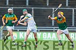 Offalys Eoghan Cahill's effort about to be blocked by Kerrys Conor O'Keeffe during their encounter Div 2 of the National Hurling League in Austin Stack Park on Sunday.