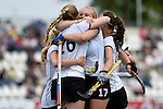 GER - Mannheim, Germany, May 24: During the U16 Girls match between Australia (green) and Germany (white) during the international witsun tournament on May 24, 2015 at Mannheimer HC in Mannheim, Germany. Final score 0-6 (0-3). (Photo by Dirk Markgraf / www.265-images.com) *** Local caption *** Pia Maertens #16 of Germany, Emily Kerner #17 of Germany, Clara Roth #6 of Germany