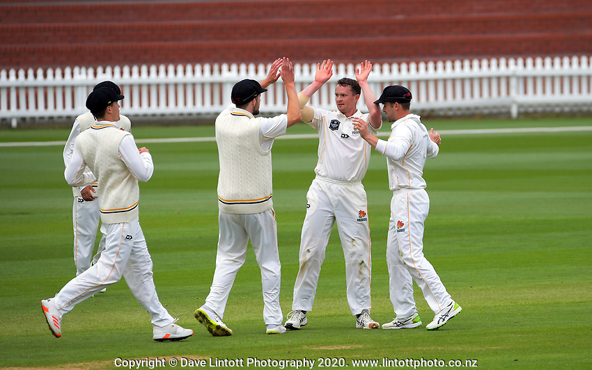 Ollie Newton celebrates a wicket during day one of the Plunket Shield match between the Wellington Firebirds and Otago at Basin Reserve in Wellington, New Zealand on Thursday, 5 November 2020. Photo: Dave Lintott / lintottphoto.co.nz