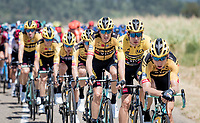 Team Jumbo-Visma controlling the peloton with yellow jersey in a prominent roll<br /> <br /> Stage 2: Vienne to Col de Porte (135km)<br /> 72st Critérium du Dauphiné 2020 (2.UWT)<br /> <br /> ©kramon