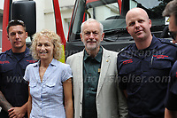 "Jeremy Corbyn has pictures taken with some of the local fire service men during ""The Bevan Festival"" celebrating the 70th Anniversary of the National Health Service. <br /> <br /> Tredegar, South Wales, Sunday 1st July 2018 <br /> <br /> <br /> Jeff Thomas Photography -  www.jaypics.photoshelter.com - <br /> e-mail swansea1001@hotmail.co.uk -<br /> Mob: 07837 386244 -"