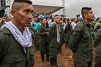 Guerrilleros en formacion durante el discurso de apertura de la X Conferencia Nacional Guerrillera a cargo del maximo lider de las Farc, Timochenko<br /> Colombian lefstis guerrillas FARC in their main capment in the Yari Plain, where they decided to sign the Peace Treaty with the government of Jose Manuel Santos in Cartagena.Colombia, ending more thant 50 years of war in the south american nation. <br /> The significance of the deal can't be overstated: Colombia's five-decade conflict, partly fueled by the nation's cocaine trade, has killed more than 220,000 people and driven 8 million from their homes.