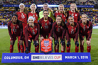 Columbus, Ohio - Thursday March 01, 2018: U.S. Women's national team starting eleven vs Germany during a 2018 SheBelieves Cup match between the women's national teams of the United States (USA) and Germany (GER) at MAPFRE Stadium.