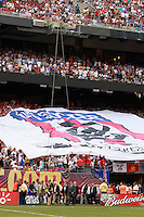 """The """"Don't Tread on Me"""" banner at the west end. The men's national teams of the United States and Argentina played to a 0-0 tie during an international friendly at Giants Stadium in East Rutherford, NJ, on June 8, 2008."""