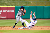 Montgomery Biscuits second baseman Jake Palomaki (3) attempts to turn a double play against the Tennessee Smokies on May 9, 2021, at Smokies Stadium in Kodak, Tennessee. (Danny Parker/Four Seam Images)