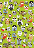 Kate, GIFT WRAPS, GESCHENKPAPIER, PAPEL DE REGALO, paintings+++++,GBKM384,#gp#, EVERYDAY,owls