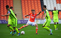 Blackpool's Jim McAlister under pressure from Exeter City's Ryan Harley<br /> <br /> Photographer Kevin Barnes/CameraSport<br /> <br /> Football - The EFL Sky Bet League Two - Blackpool v Exeter City - Saturday 6th August 2016 - Bloomfield Road - Blackpool<br /> <br /> World Copyright © 2016 CameraSport. All rights reserved. 43 Linden Ave. Countesthorpe. Leicester. England. LE8 5PG - Tel: +44 (0) 116 277 4147 - admin@camerasport.com - www.camerasport.com
