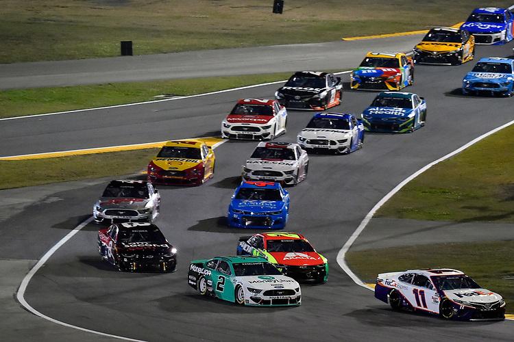 #2: Brad Keselowski, Team Penske, Ford Mustang MoneyLion and #11: Denny Hamlin, Joe Gibbs Racing, Toyota Camry FedEx Express