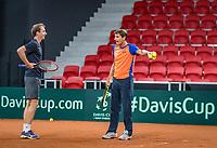 The Hague, The Netherlands, September 11, 2017,  Sportcampus , Davis Cup Netherlands - Chech Republic, training, Captain Paul Haarhuis (R) instructs Matwe Middelkoop (NED) <br /> Photo: Tennisimages/Henk Koster