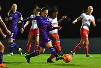 Stefania Vatafu (10) of Anderlecht pictured in a fight for the ball with Esther Buabadi (24) of Zulte-Waregem during a female soccer game between RSC Anderlecht Dames and SV Zulte Waregem on the 10 th matchday of the 2020 - 2021 season of Belgian Womens Super League , friday 18 th of December 2020  in Tubize , Belgium . PHOTO SPORTPIX.BE | SPP | DAVID CATRY