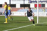 3rd April 2021; Dens Park, Dundee, Scotland; Scottish FA Cup Football, Dundee FC versus St Johnstone; Danny Mullen of Dundee celebrates after thinking he had scored an equaliser for 1-1 only for it to be disallowed
