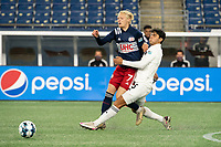 FOXBOROUGH, MA - OCTOBER 09: Connor Presley #7 of New England Revolution II and Sami Guediri #3 of Fort Lauderdale CF collide in the midfield during a game between Fort Lauderdale CF and New England Revolution II at Gillette Stadium on October 09, 2020 in Foxborough, Massachusetts.