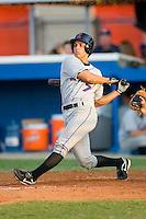 Michael Moras #7 of the Kingsport Mets follows through on his swing versus the Burlington Royals at Burlington Athletic Park July 3, 2009 in Burlington, North Carolina. (Photo by Brian Westerholt / Four Seam Images)