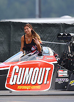 Feb 7, 2015; Pomona, CA, USA; NHRA top fuel driver Leah Pritchett during qualifying for the Winternationals at Auto Club Raceway at Pomona. Mandatory Credit: Mark J. Rebilas-
