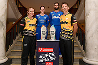 Maddy Green, captain of the Wellington Blaze, Lauren Down, captain of the Auckland Hearts, Robbie O'Donnell, captain of the Auckland Aces and  Michael Bracewell, captain of the Wellington Firebirds  (L-R)  Super Smash Captains photo opportunity at Basin Reserve, Wellington on Wednesday 23 December 2020.<br /> Copyright photo: Masanori Udagawa /  www.photosport.nz