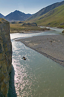 Whitewater rafting on the Kongakut River, Brooks Range mountains, Arctic National Wildlife Refuge, Alaska