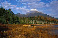 Clouds over Baxter Peak on Mount Katahdin, as seen from Tracy Pond in Baxter State Park, Maine.