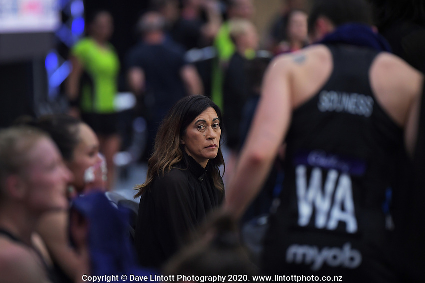 Silver Ferns coach Noeline Taurua during the Cadbury Netball Series final between NZ Silver Ferns and NZ Men at the Fly Palmy Arena in Palmerston North, New Zealand on Saturday, 24 October 2020. Photo: Dave Lintott / lintottphoto.co.nz
