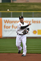 Taylor Lindsey (8) of the Salt Lake Bees warms up prior to the game against the Sacramento River Cats at Smith's Ballpark on April 3, 2014 in Salt Lake City, Utah.  (Stephen Smith/Four Seam Images)