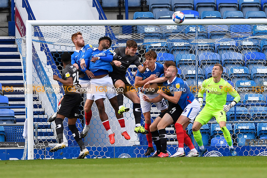 Portsmouth defend a corner during Portsmouth vs Doncaster Rovers, Sky Bet EFL League 1 Football at Fratton Park on 17th October 2020