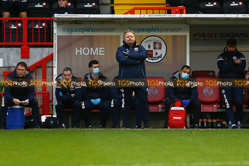 Crawley Town manager John Yems during Crawley Town vs Carlisle United, Sky Bet EFL League 2 Football at Broadfield Stadium on 21st November 2020