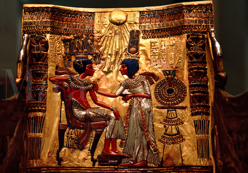 Back panel of King Tutankhamen's Throne, Egyptian Museum. Cairo, Egypt