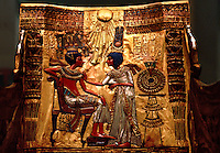 Back panel of King Tutankhamen's Throne, Egyptian Museum. Cairo, Egypt