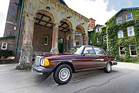 A 1979 Mercedes W123 300 Turbo Diesel from Missouri in the USA, at Gliffaes Hotel near Abergavenny, Wales, UK. Friday 24 August 2019