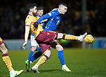 Motherwell v St Johnstone…..30.11.19   Fir Park   SPFL<br />Michael O'Halloran loses out to Liam Donnelly<br />Picture by Graeme Hart.<br />Copyright Perthshire Picture Agency<br />Tel: 01738 623350  Mobile: 07990 594431