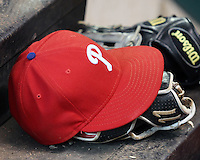Philadelphia Phillies hat. Photo by Andrew Woolley / Baseball America.
