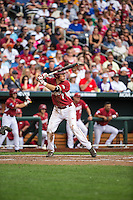 Bobby Wernes (7) of the Arkansas Razorbacks bats during a game between the Virginia Cavaliers and Arkansas Razorbacks at TD Ameritrade Park on June 13, 2015 in Omaha, Nebraska. (Brace Hemmelgarn/Four Seam Images)