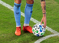 WASHINGTON, DC - SEPTEMBER 06: Gudmundur Thórarinsson #20 of New York City FC sets the ball for a corner kick during a game between New York City FC and D.C. United at Audi Field on September 06, 2020 in Washington, DC.