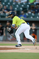 Second baseman Walter Rasquin (22) of the Columbia Fireflies bats in a game against the Delmarva Shorebirds on Thursday, May 2, 2019, at Segra Park in Columbia, South Carolina. Delmarva won, 1-0. (Tom Priddy/Four Seam Images)