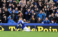 Pictured: Ross Barkley of Everton is celebrating his goal. Saturday 22 March 2014<br /> Re: Barclay's Premier League, Everton v Swansea City FC at Goodison Park, Liverpool, UK.