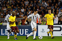 Fudbal, Champions league,Group H season 2010/2011.Partizan Vs. Arsenal.Radosav Petrovic, center, Alex Song, left and Tomas Rosicky, right.Beograd, 29.09.2010..foto: Srdjan Stevanovic/Starsportphoto ©