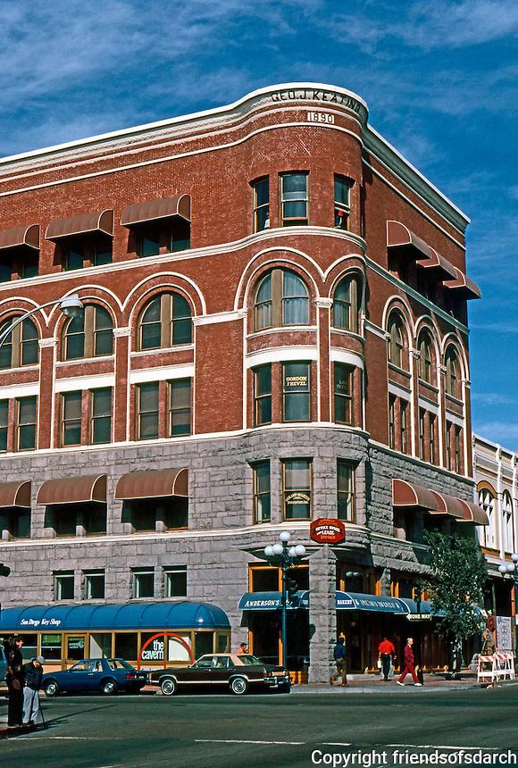 San Diego: George J. Keating Block. Reid Brothers, 1890. 432 F St. Richardsonian, early modern style. Photo '81.